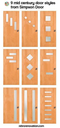 9 mid-century modern exterior door styles from Simpson Doors - we had the one in the top left corner - Memories!!!!