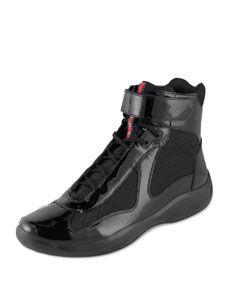 Hi-Top Patent Sneaker, Black