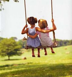 BFF's.  Little girlfriends swinging together.  So adorable. The sweet innocence.