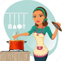 Housewife cooking Gradient mask No effect of transparency Eps 8 Stock Vector Slow Cooker Reviews, Aqua, Mint, Apple Wallpaper, Digital Art Girl, Food Illustrations, Illustration Art, Professional Business Cards, Housewife