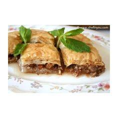 Baklava Recipe | Best Turkish Baklava Recipe | Dessert Recipes | Chef... ❤ liked on Polyvore featuring home, kitchen & dining, cookbooks, dessert cookbooks, turkish cookbook and recipe cookbook
