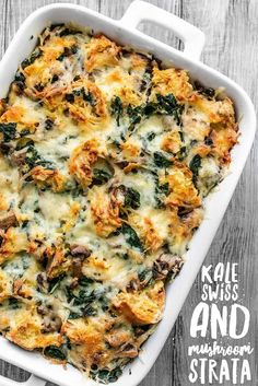 This Kale Swiss and Mushroom Strata is a filling and savory dish perfect for breakfast, brunch, or brinner! Prep the night before and bake in the morning! Healthy Recipes, Egg Recipes, Brunch Recipes, Breakfast Recipes, Vegetarian Recipes, Cooking Recipes, Breakfast Ideas, Weekly Recipes, Quiche Recipes