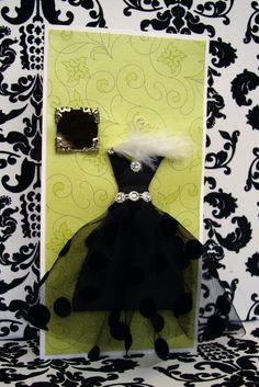 SALE Ebony Personalised Dress Card  / Handmade Greeting Card. $9,00, via Etsy.