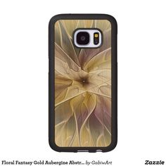 Floral Fantasy Gold Aubergine Abstract Fractal Art Wood Samsung Galaxy S7 Case