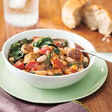 White Bean, Kale and Sausage Stew I used chickpeas and spicy Jennio turkey sausage. Filling and delicious