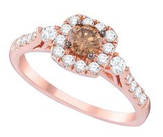14kt Rose Gold Womens Round Cognac-brown Colored Diamond Solitaire Bridal Wedding Engagement Ring 3/4