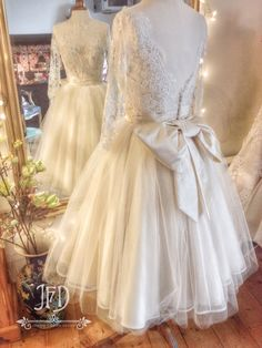 Joanne Fleming Design; Ivory French lace and silk tulle tea length wedding dress