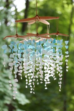 sea glass and starfish mobile