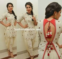 Raashi Khanna in Nikasha dhoti dress at supreme audio launch Salwar Designs, Blouse Designs, Kurti Back Designs, Indian Attire, Indian Wear, Indian Blouse, Sari Blouse, Indian Style, Hindus