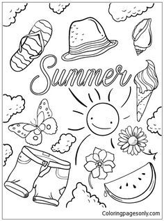 Hello Summer Coloring Page Summer Coloring Pages Summer
