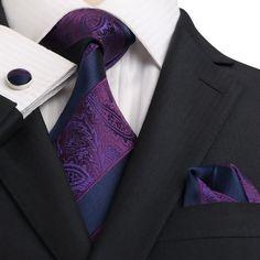 Navy and Purple Silk Necktie JPM18E17