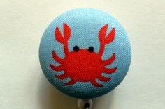 Red Crab on Blue Retractable Fabric Badge Reel by MyBusyButtons, $6.95