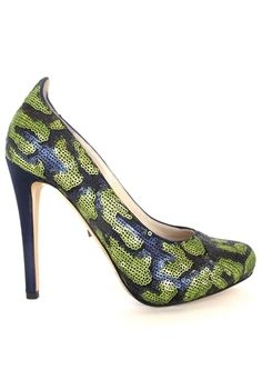 Susanne Blue and Green Sequin Heel by Jerome C. Rousseau