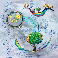 Sauvons notre planète,Peinture acrylique d'Anne Poiré et de Patrick Guallino.
