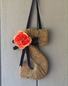 Twined S with coral flower and navy blue ribbon - made for a friends rustic wedding