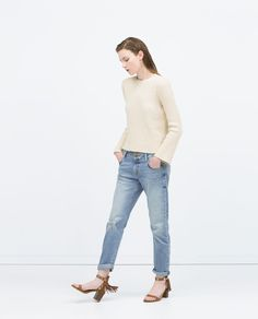 Image 1 of RIPPED BOYFRIEND JEANS from Zara