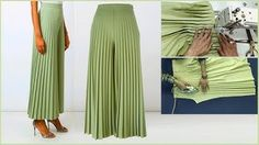Diy Crafts - in this video i will show you Beautiful Pleated Palazzo pant cutting and stitching Step by step very method 🙋♂️Hello. Sewing Pants, Sewing Clothes, Diy Clothes, Clothes For Women, Girls Dresses Sewing, Sleeves Designs For Dresses, Dress Neck Designs, Blouse Designs, Sleeve Designs