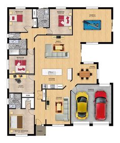 Trenton 5 by Format Homes is a expansive single storey home. Sims House Plans, Small House Plans, House Floor Plans, Australian House Plans, Australian Homes, Mansion Plans, 4 Bedroom House Plans, Storey Homes, Shed Homes