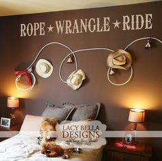 """Rope - Wrangle - Ride"" Is that boy of yours always playing cowboys and Indians? Is his heart stuck in the country somewhere, maybe riding bareback on a horse or roping cattle? This personalized vinyl sticker is perfect to add to the walls of his room to make him feel like the country cowboy that he is!"