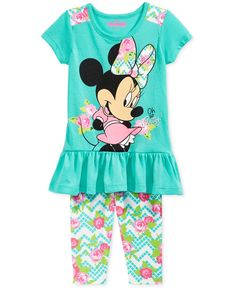 Nannette Little Girls' Minnie Tunic & Capri Leggings Set - Kids & Baby - Macy's Kids Outfits Girls, Toddler Outfits, Girl Outfits, Mickey Mouse T Shirt, Minnie Mouse, Girl Sweat, Disney Outfits, Disney Clothes, Baby Kids