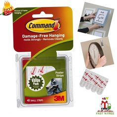 Command 48 Poster Adhesive Strip Tape Picture Hang Wall Sticky Easy Remove Clean #Command