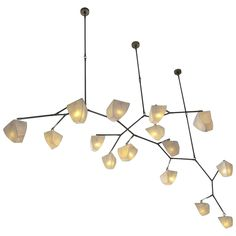 Cassiopeia 15 Porcelain and Brass Mobile Chandelier