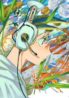 """""""🐟🐟🐟 🎵in game ocean BGM"""" Pretty Art, Cute Art, Character Illustration, Illustration Art, Manga Art, Anime Art, Character Art, Character Design, Environmental Art"""