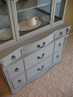 DEFINITELY painting hutch like this! ANd table base!
