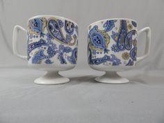 Set of 2 Mod Vintage Ceramic Pedestal Mugs - Blue and White Paisley - Circa 1960s - 1970s by SlyfieldandSime on Etsy