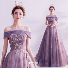 Charming Purple Prom Dresses 2020 A-Line / Princess Off-The-Shoulder Glitter Beading Pearl Rhinestone Sequins Sleeveless Backless Court Train Formal Dresses Purple Evening Dress, Purple Gowns, Off Shoulder Gown Evening Dresses, Royal Purple Dress, Off Shoulder Ball Gown, Purple Party Dress, Pretty Dresses, Beautiful Dresses, Beaded Wedding Gowns