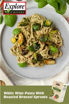 Have some extra veggies in the fridge? Put them to good use with the White Wine Pasta With Roasted Brussel Sprouts! A Vegan pasta dish featuring the Explore Cuisine Edamame Spaghetti, topped with vegetables makes for a perfect, spring-time dish! Sprout Recipes, Plant Based Recipes, Edamame Spaghetti, Vegan Pasta, Spaghetti Recipes, Diy Food, White Wine, Spring Time, Sprouts