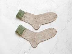 Limited edition knitting Socks handmade beige tweed and angora moss green cotton and wool () by camelotia