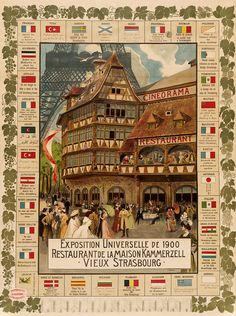 "Cartel de publicidad Henri Loux: ""Exposición Universal de 1900 - casa Kammerzell"" (1900) - Giclee Fine Art Print"