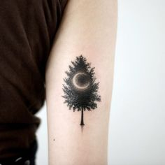 Crescent moon and tree by Doy