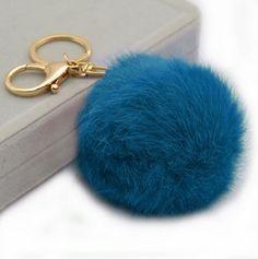 Cute Genuine Rabbit fur pom pom keychain for car by YogaStudio55