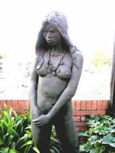 #Bronze Garden Or Yard / Outside and Outdoor #artwork by #artist Paul Gervis titled: 'Michelle and Necklace (nude Lifesize bronze garden sculpture)'. #art #sculptor #sculpture #PaulGervis