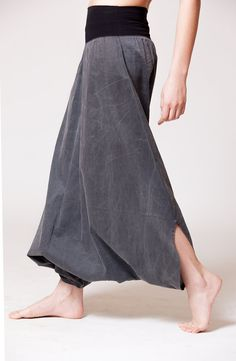 Black Cotton Womens Harem Skirt Pants Stone Wash by MichalRomem, $110.00