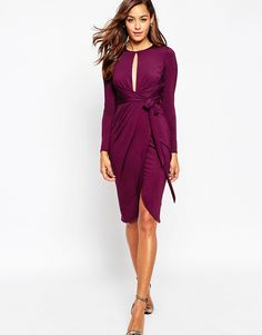 Burgundy Deep Plunge Midi Dress (photo: ASOS). Long & Short Bridesmaid dresses (and jumpsuits) in colors perfect for any fall/winter wedding (and even all year round). Plum purple bridesmaid dress.