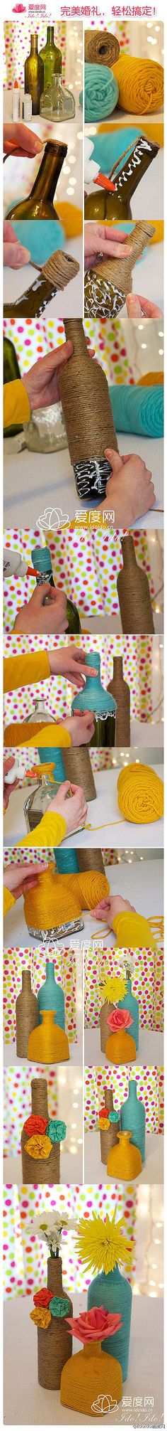 Yarn around bottles... an easy way to dress up your wine bottles or whatever without having to worry about labels coming off!