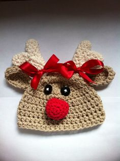 Crochet reindeer hat baby reindeer hat newborn por MRocheCrochet Crochet  Bunny eac2e828822