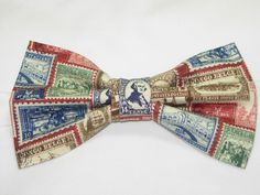 Postage Stamp Pre-tied Bow Tie - Vintage Stamps from around the World on Dark Red