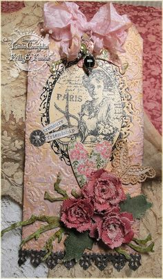 So Shabby Chic! I love everything about this right down to the smallest detail. The Funkie Junkie: Getting Crafty With Canvas Card Tags, Gift Tags, Shabby Chic Cards, Handmade Tags, Paper Tags, Vintage Tags, Artist Trading Cards, Christmas Tag, Tag Art