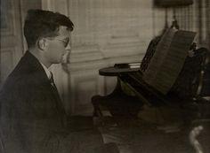 SHOSTAKOVICH, DMITRII DMITRIEVICH. 1906-1975. Portrait of Shostakovich at the piano,  circa 1925.