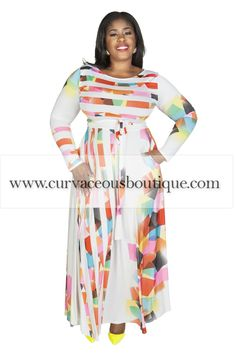 7049619af2 Off White Square Print Gabby Belted Maxi Dress-TRUE TO SIZE MODEL WEARING  Polyester Spandex 61 approx. length from high point shoulder to hem This  striking ...