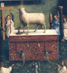 JAN VAN EYCK (1395-1441) - The Ghent Altarpiece - Adoration of the Lamb, detail - 1432. Sint-Baafskathedraal (Cathedral of St Bavo), Gent, Belgium.