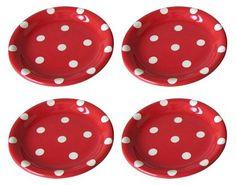 "Polka Dots 6"" Dish, White on Red, (Set of 4) - casa.com"