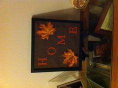 Fall burlap frame decor