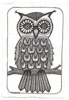 'Folk Art Owl' by Suzy 'Sooz' Taylor