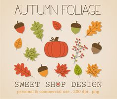 Autumn Clip Art, Foliage Clip Art, Fall Clip Art, Royalty Free Clip Art, Instant Download by SweetShopDesign, $3.00