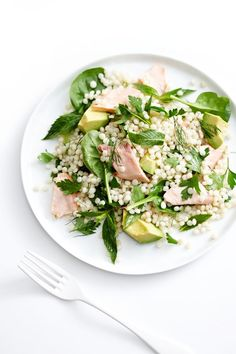 Poached Salmon, Herb & Pearl Cous-Cous Salad